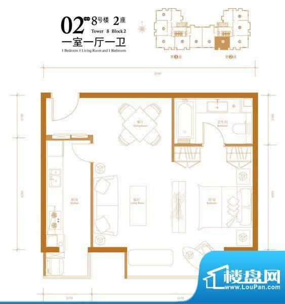 悠唐麒麟公馆HIP公寓8号楼2座0面积:70.71平米
