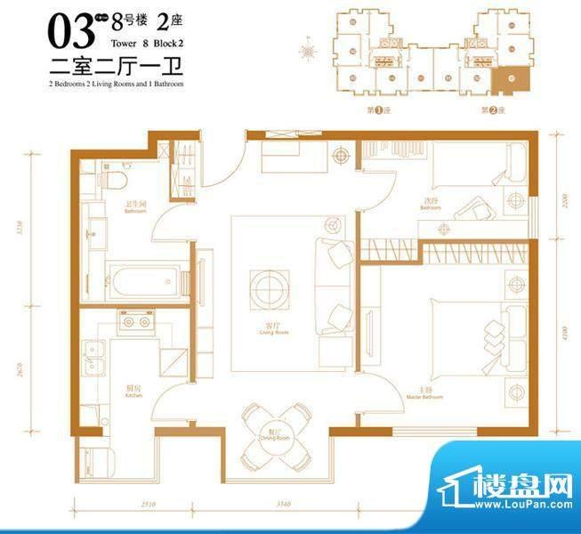 悠唐麒麟公馆HIP公寓8号楼2座0面积:85.80平米