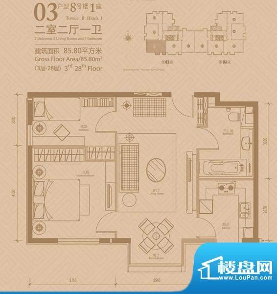 悠唐麒麟公馆8号楼1座03户型 2面积:85.80平米