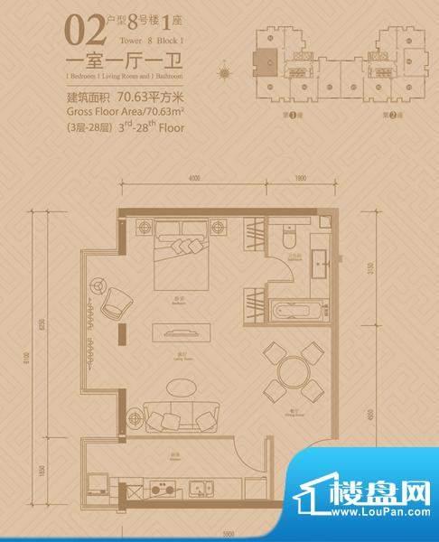 悠唐麒麟公馆8号楼1座02户型 1面积:70.63平米
