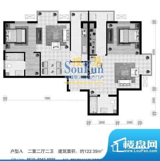 悠唐麒麟公馆A户型 2室2厅2卫1面积:122.39平米