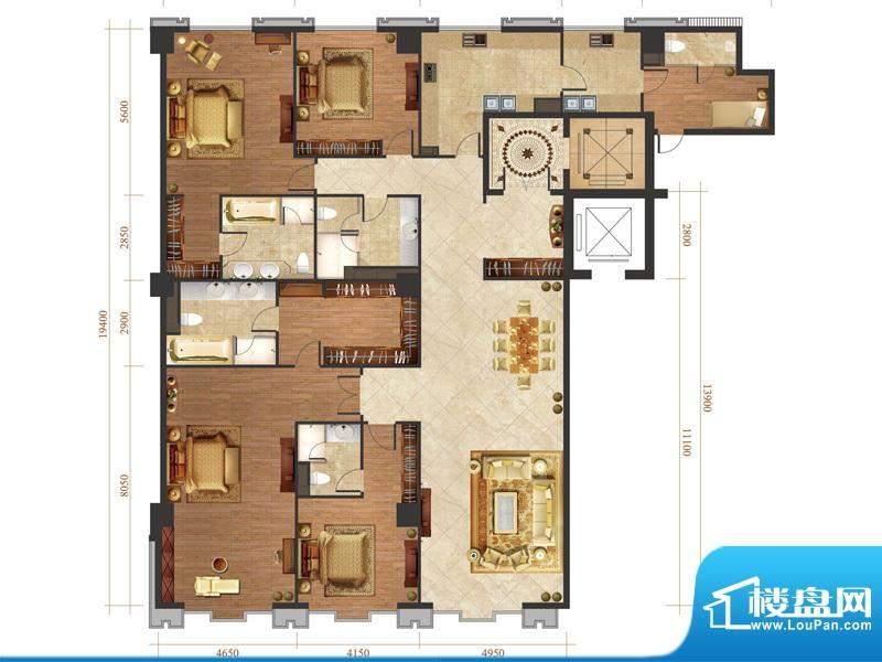 国悦府s2-2户型 4室2厅3卫1厨面积:375.00平米