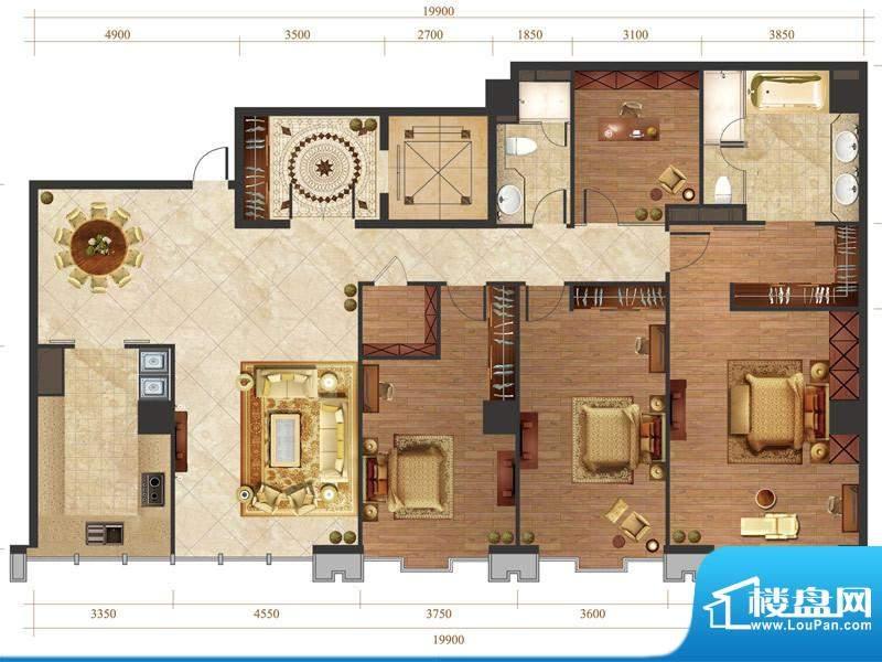 国悦府s3-3户型 3室2厅2卫1厨面积:275.00平米