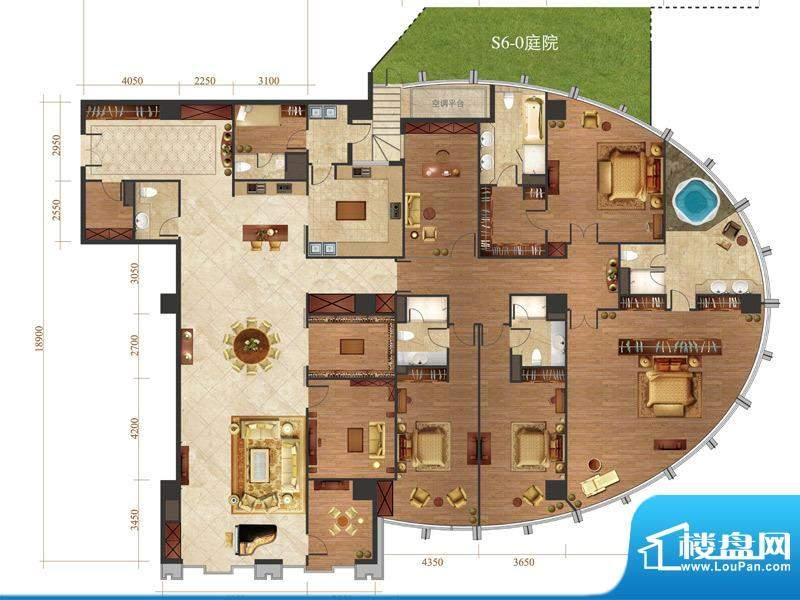 国悦府s6-0户型 5室2厅4卫1厨面积:568.00平米