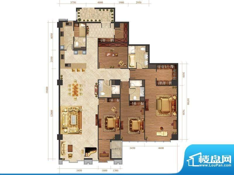 国悦府s5-1户型 4室2厅3卫1厨面积:345.00平米