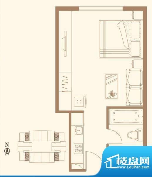 长安六号C户型 1室1卫1厨面积:47.33平米