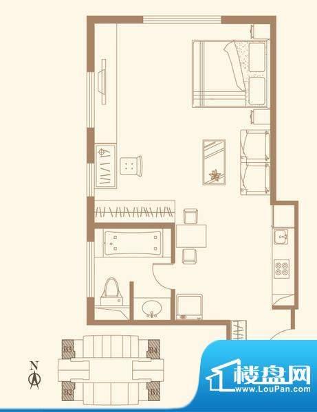 长安六号B户型 1室1卫1厨面积:63.94平米