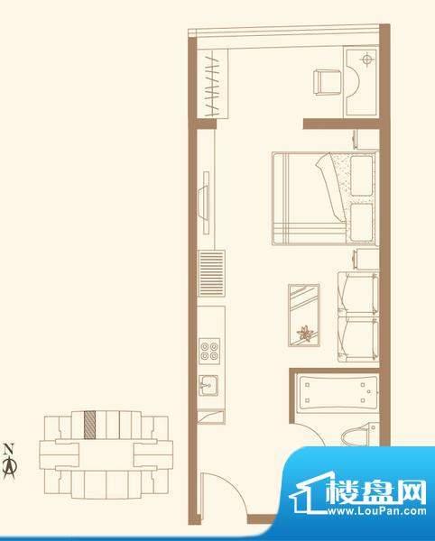 长安六号H2户型 1室1卫1厨面积:55.84平米