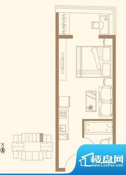 长安六号H1户型 1室1卫1厨面积:47.69平米