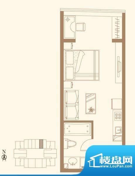 长安六号G户型 1室1卫1厨面积:53.58平米
