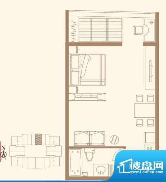 长安六号F户型 1室1卫1厨面积:76.99平米
