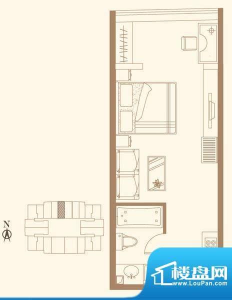 长安六号H3户型 1室1卫1厨面积:56.08平米