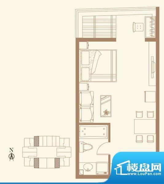 长安六号D户型 1室1卫1厨面积:66.19平米