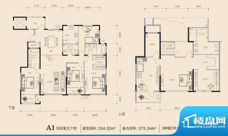 博悦府2号楼A1复式户型 6室3厅面积:334.02平米