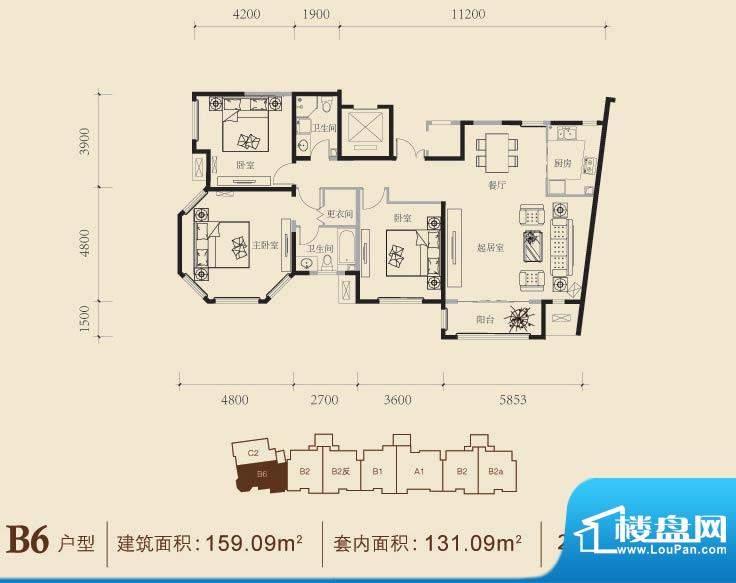 博悦府2号楼B6内户型 3室2厅2卫面积:159.09平米