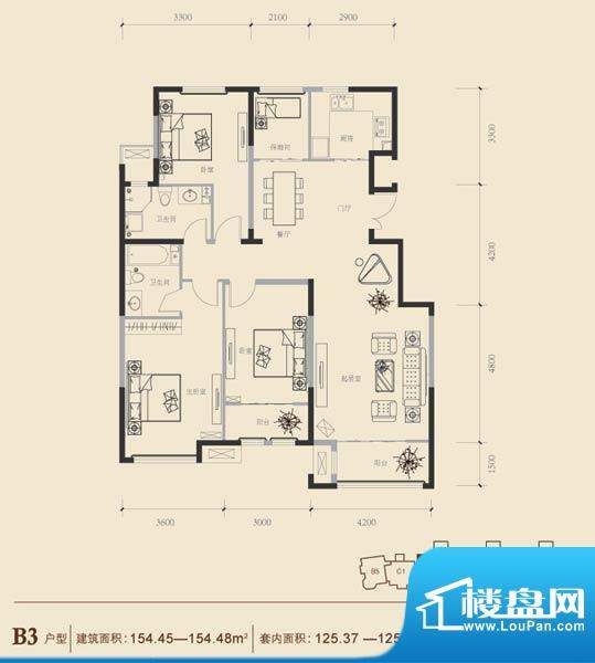 博悦府1号楼B3内户型 3室2厅2卫面积:154.45平米