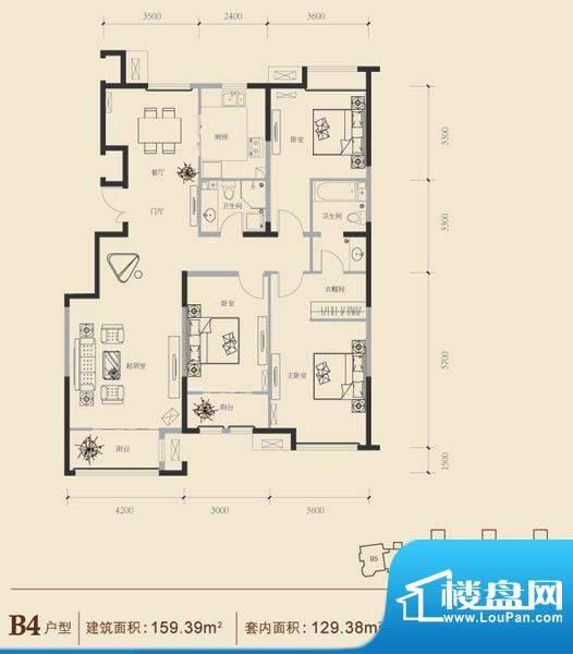 博悦府1号楼B4内户型 3室2厅2卫面积:159.39平米