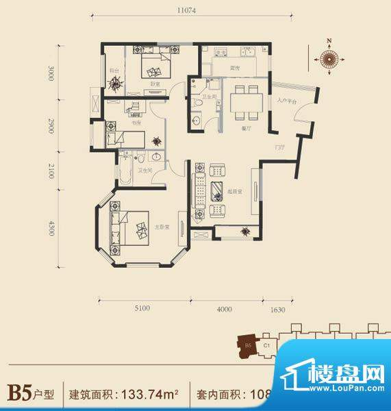 博悦府1号楼B5内户型 3室2厅2卫面积:133.74平米