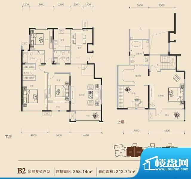 博悦府2号楼B2顶阁内户型 5室3面积:258.14平米
