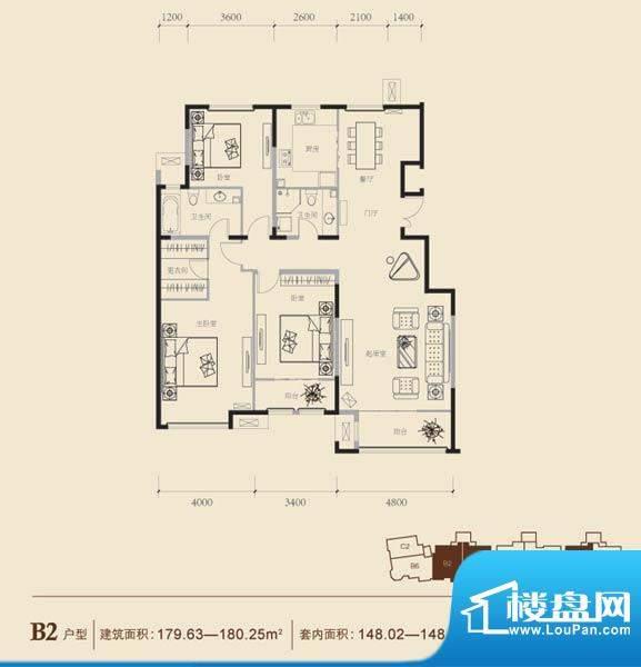 博悦府2号楼B2内户型 3室2厅2卫面积:179.63平米