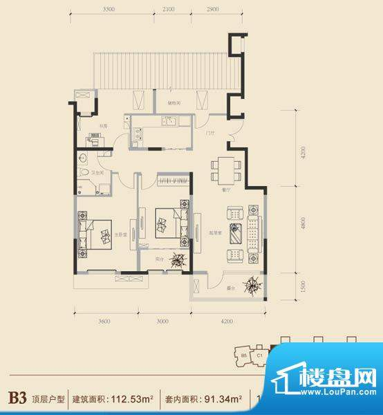 博悦府1号楼B3顶内户型 3室2厅面积:112.53平米