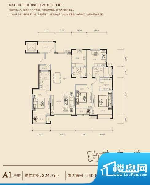 博悦府2号楼A1内户型 4室2厅3卫面积:224.70平米