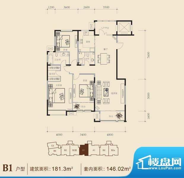 博悦府2号楼B1内户型 3室2厅2卫面积:181.30平米