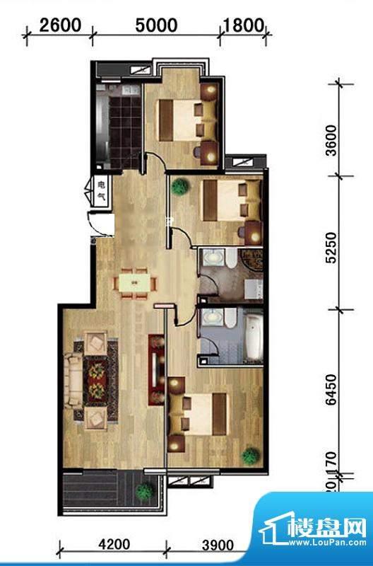 金桥国际A户型图 3室2厅2卫1厨面积:131.00平米