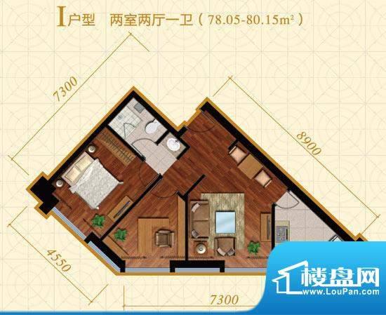 中冶置业·金澳国际I户型 2室2面积:78.05平米