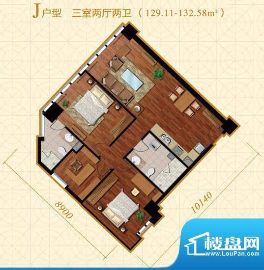中冶置业·金澳国际J户型 3室2面积:129.11平米