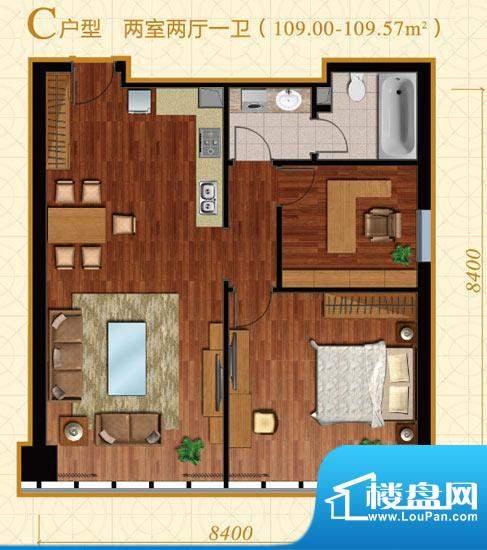 中冶置业·金澳国际C户型 2室2面积:109.00平米