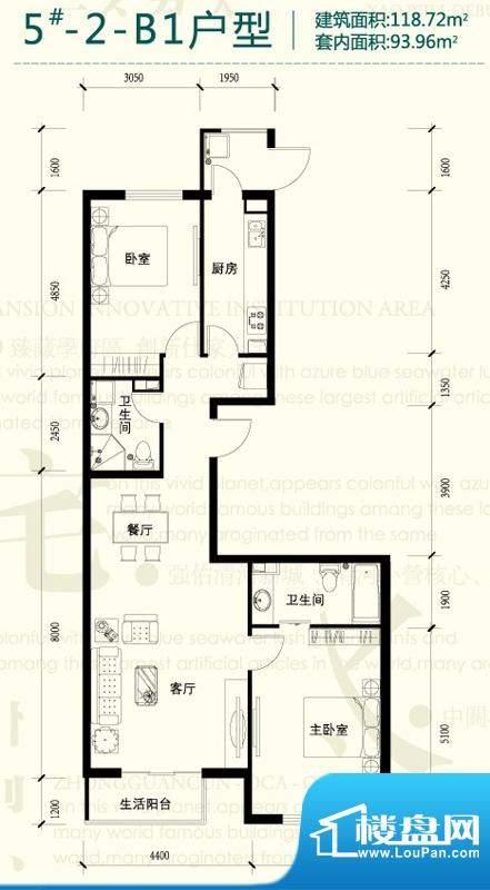 强佑清河新城5号楼-2-B1户型图面积:118.72平米
