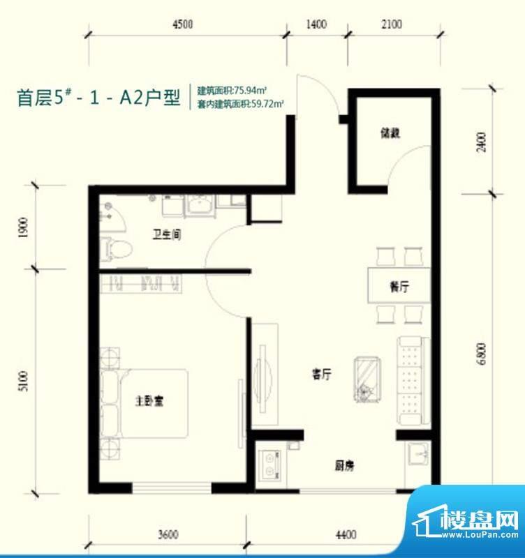强佑清河新城首层5号楼-1-A2户面积:75.94平米