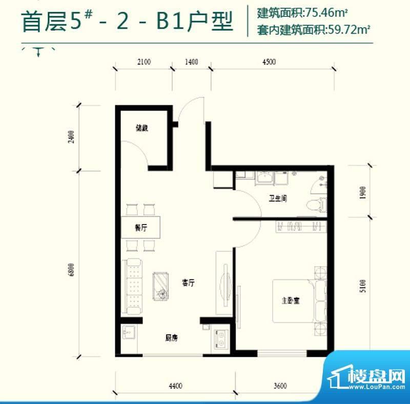 强佑清河新城首层5号楼-2-B1户面积:75.46平米