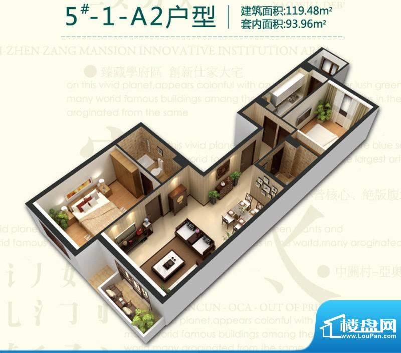 强佑清河新城5号楼-1-A2背户型面积:119.48平米