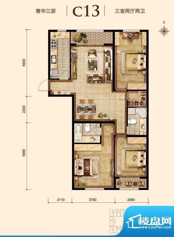 胜古誉园c13户型 3室2厅2卫1厨面积:110.00平米