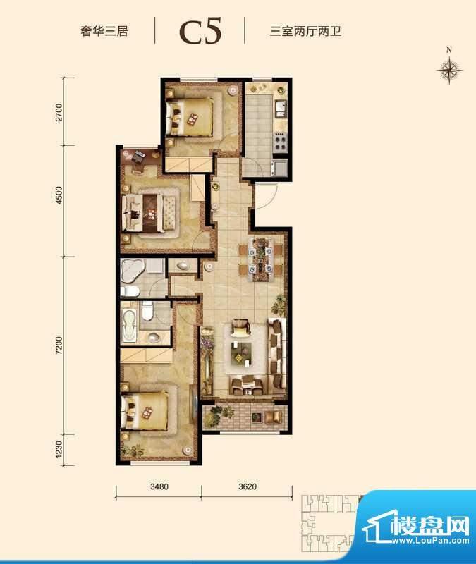 胜古誉园c5-01户型 3室2厅2卫1面积:110.00平米