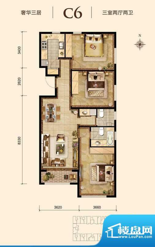 胜古誉园c6-01户型 3室2厅2卫1面积:110.00平米