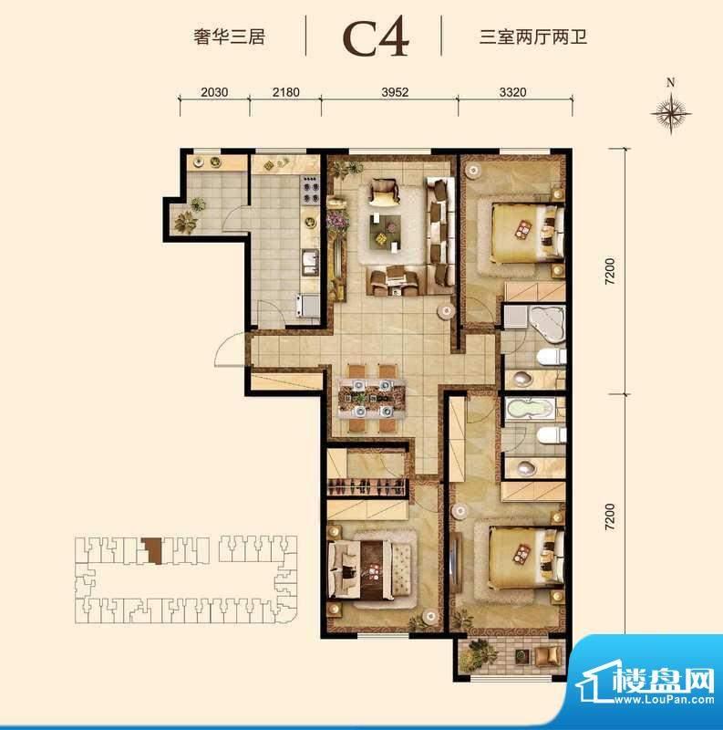 胜古誉园c4-01户型 3室2厅2卫1面积:140.00平米