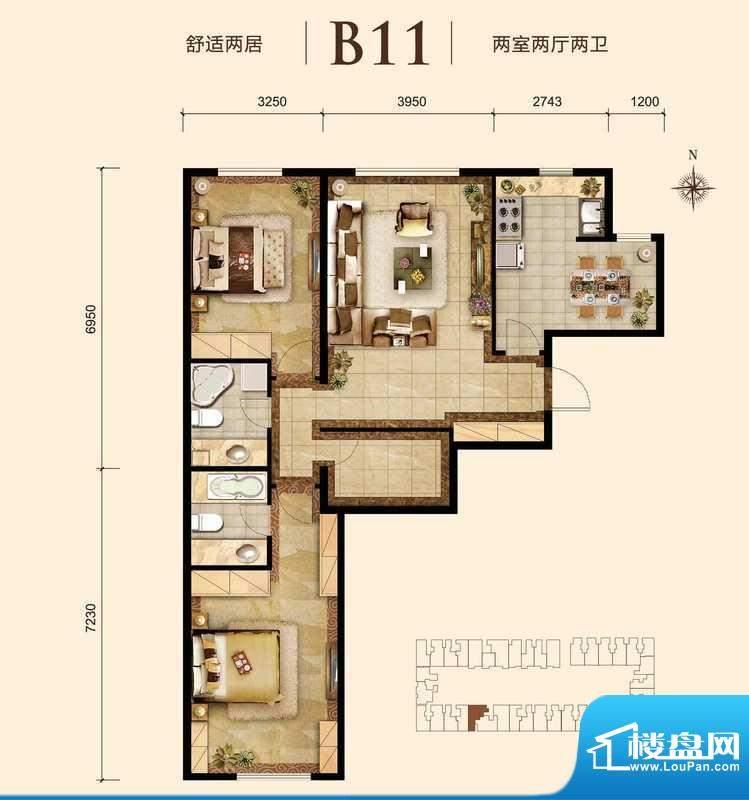胜古誉园b11-01户型 2室2厅2卫面积:90.00平米