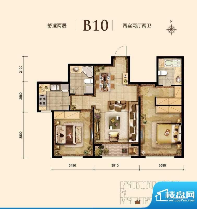 胜古誉园b10-01户型 2室2厅2卫面积:90.00平米