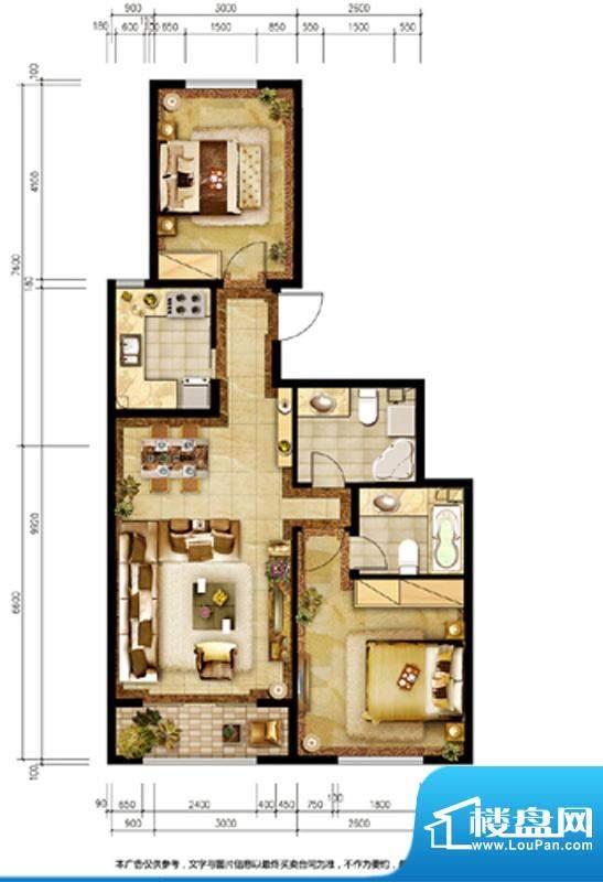 胜古誉园B1户型 2室2厅2卫1厨面积:91.00平米