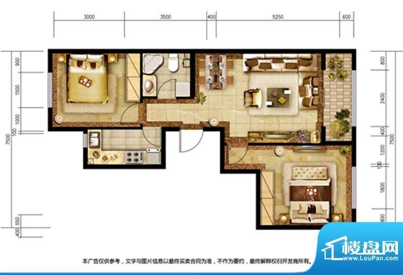 胜古誉园B6户型 2室2厅1卫1厨面积:85.00平米