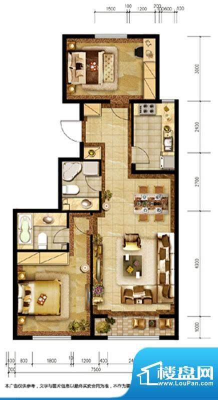 胜古誉园B9户型 2室2厅2卫1厨面积:96.00平米