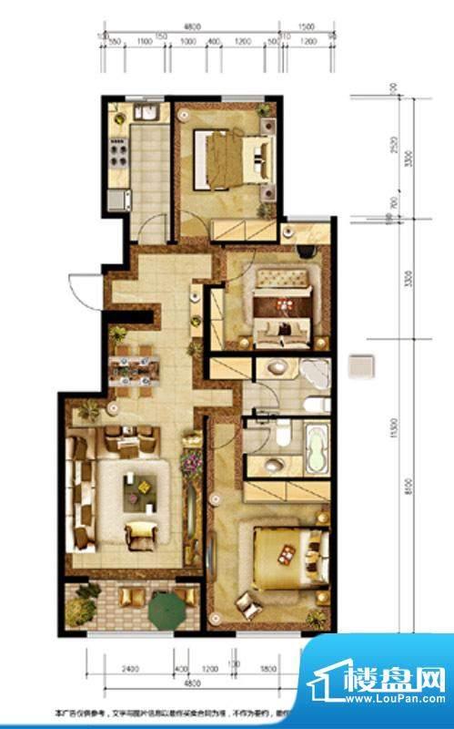 胜古誉园C8户型 3室2厅2卫1厨面积:110.00平米