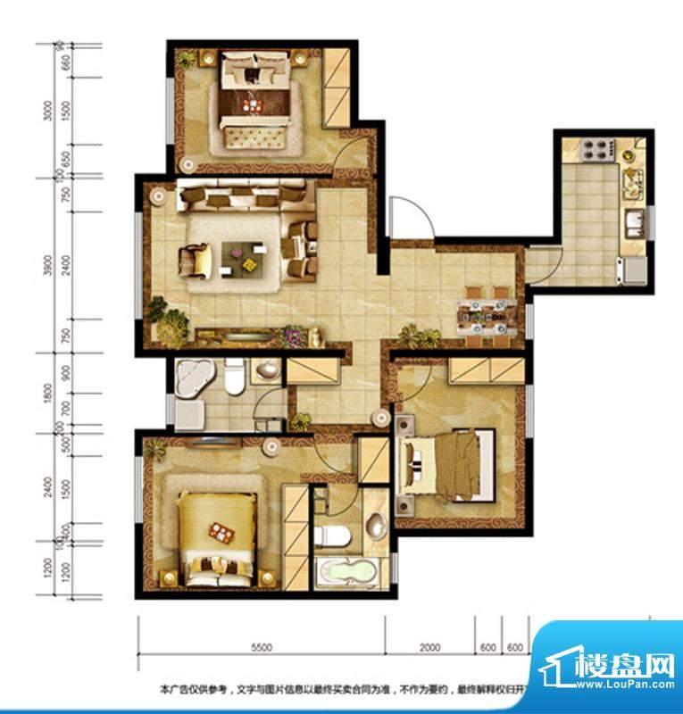 胜古誉园C14户型 3室2厅1卫1厨面积:114.00平米