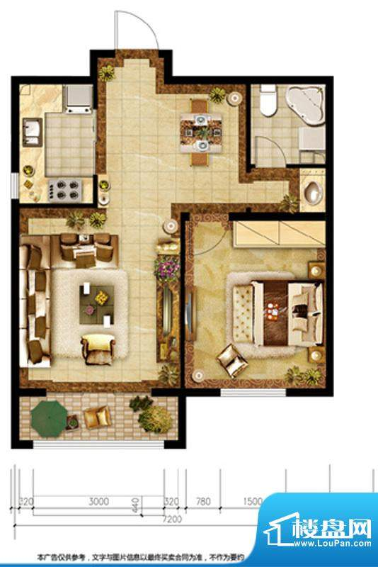 胜古誉园A1户型 1室2厅1卫1厨面积:60.00平米