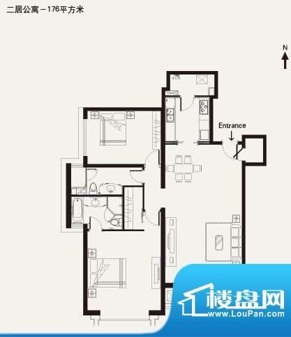 棕榈泉白金公寓2居户型 2室2厅面积:176.00平米