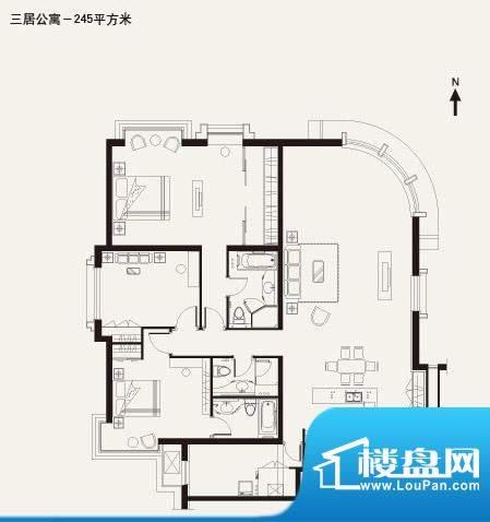 棕榈泉白金公寓3居户型 3室2厅面积:245.00平米