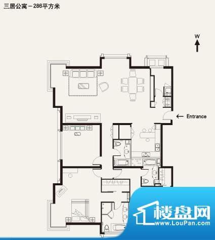 棕榈泉白金公寓3居户型 3室2厅面积:288.00平米